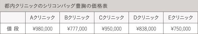 シリコンバッグ豊胸の価格表